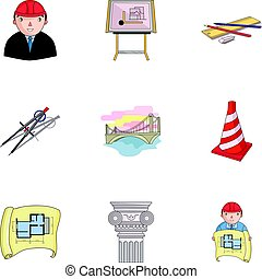 A set of icons on the theme of construction and architects. Builders, architects, and subjects for construction . Architect icon in set collection on cartoon style vector symbol stock illustration.