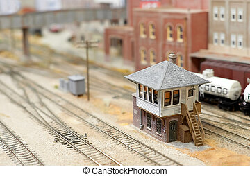 train yard - miniature model track-side signal box in a...