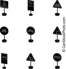Set of road signs. Signs of prohibition, permission, priority. Road signs icon in set collection on black style vector symbol stock illustration.