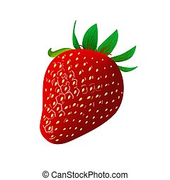 Ripe juicy Strawberry isolated on white. Whole. Side view....