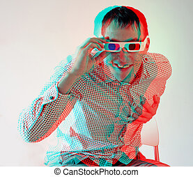 men in stereo glasses - young man, looking through stereo...