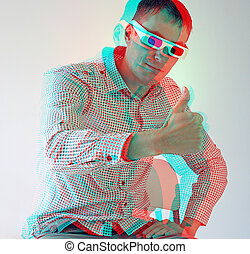 men in stereo glasses 3D anaglyph effect photo to view -need...