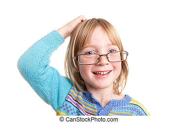 thinking child glasses - child thinking with glasses...