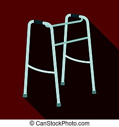 Walker for the disabled.Old age single icon in flat style...