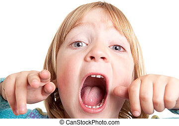 shout child scream isolated - screaming child, kid yell or...
