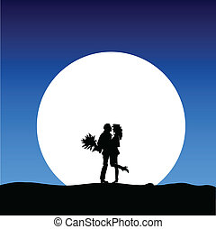 couple in love in the moonlight