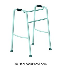 Walker for the disabled.Old age single icon in cartoon style...