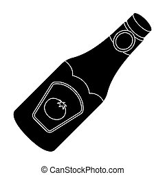 A bottle of ketchup.BBQ single icon in black style vector symbol stock illustration web.