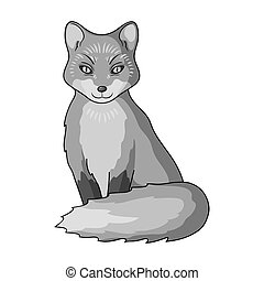 Red fox.Animals single icon in monochrome style vector...