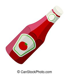 A bottle of ketchup.BBQ single icon in cartoon style vector symbol stock illustration web.