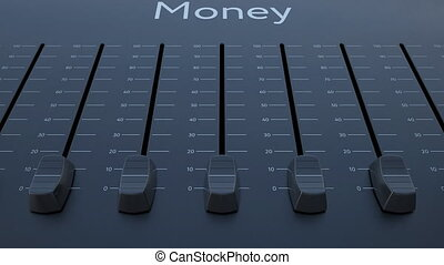 Sliding fader with money inscription. Conceptual 4K clip...