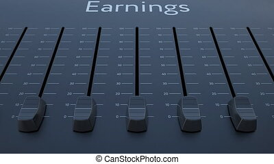 Sliding fader with earnings inscription. Conceptual 4K clip...