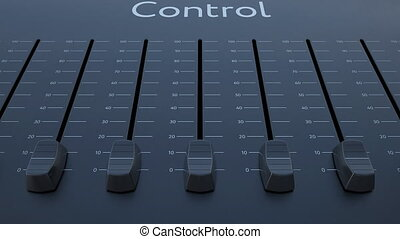 Sliding fader with control inscription. Conceptual 4K clip...