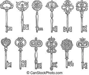 Old vintage key and antique skeleton sketch