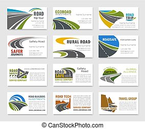 Business card template with road and highway - Business card...