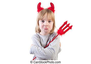niño, travieso, Diablo, Halloween