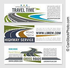 Road travel and highway service banner template set....