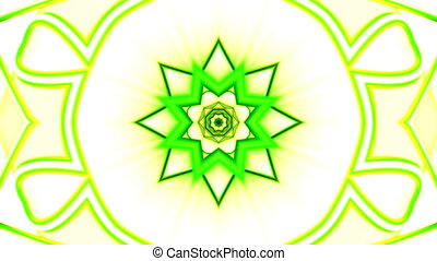 Green yellow and white CG Kaleidoscopic VJ looping animated...