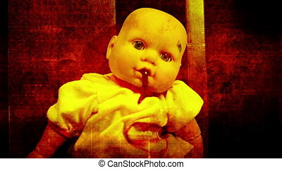 Grunge abstract baby doll spitting up blood in red with...