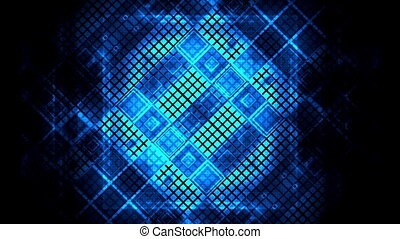Bright blues and black looping geometric VJ abstract...