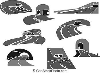 Road tunnel icon set with highway and freeway - Road tunnel...