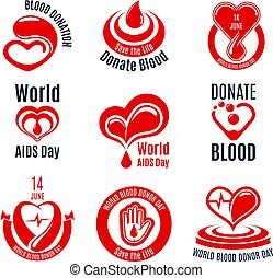 Blood donation icon with red heart, drop and hand