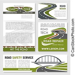 Road and highway banner template design - Road and highway...