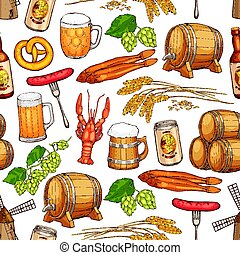 Beer drink seamless pattern background