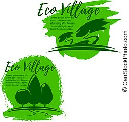 Eco village, green living and ecology icon set