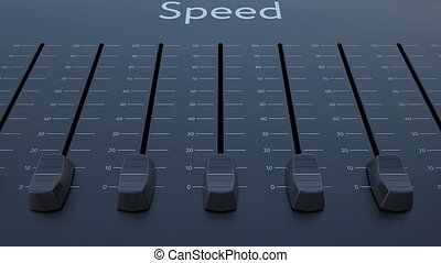 Sliding fader with speed inscription. Conceptual 4K clip...