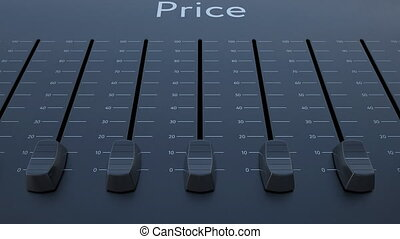 Sliding fader with price inscription. Conceptual 4K clip...