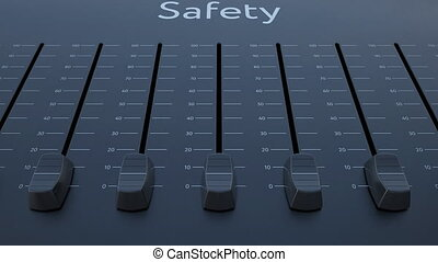 Sliding fader with safety inscription. Conceptual 4K clip...