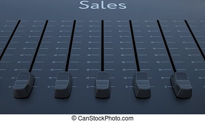 Sliding fader with sales inscription. Conceptual 4K clip...
