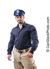 Strong man in police uniform - Handsome muscular male posing...
