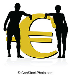 couple leaning on the euro currency