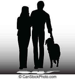 couple with dog vector silhouettes