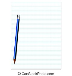 Lined paper with pencil vector