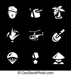 Vector Set of Vietnam War Icons. - Soldier, tag, palm, reed,...
