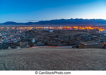View of Litang Country from the hill at twilight