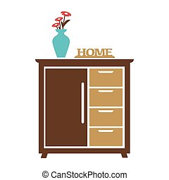 Brown cupboard with blue flower vase, carved sign of home -...
