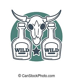 Two wild bottles and buffalo skull with horns on white background.