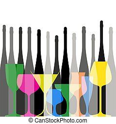 Alcohol Background vector - Background with bottles...
