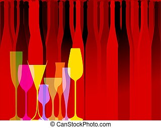 Glasse to alcohol vector - Wine background vector. Design...