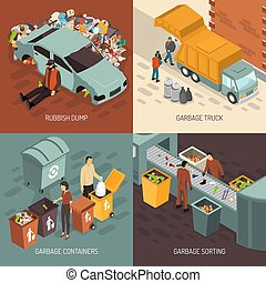 Isometric Garbage Recycling Design Icon Set - Four square...