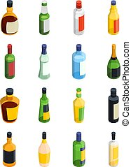 Alcohol Isometric Icon Set