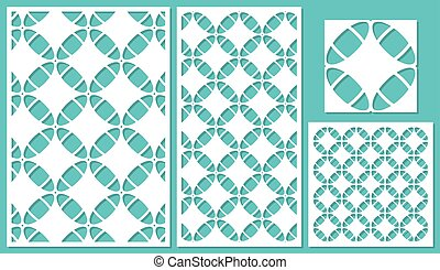 Set of decorative panels laser cutting. Linear geometric...
