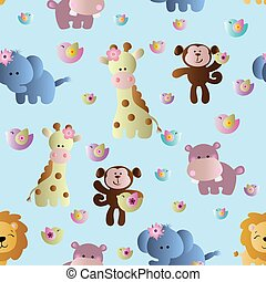 pattern with cute african animals - Drawing of a seamless...