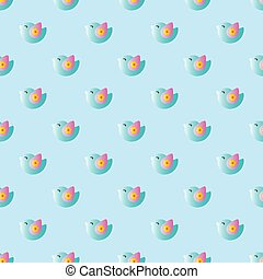 pattern with cartoon cute toy baby bird - seamless pattern...