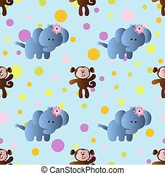 pattern with cartoon cute toy baby elephant