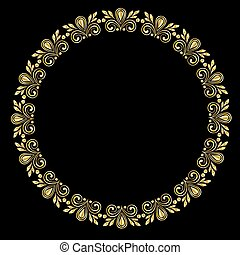 drawing of a round gold gradient frame